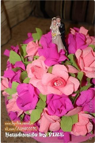 Всем привет!!! Спешу поделиться своей радостью) Очень хотела попробовать себя в свадебном свит-дизайне, изучала  работы по этой теме на СМ. и вот наконец удалась затея, моя интерпретация свадебного торта из конфет фото 1