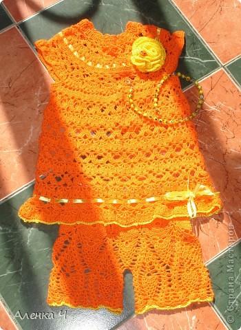 Апельсиновый комплектик, нашла красивые пуговки-божьи коровки, посадила на цветочек и на спинке застежки. фото 1