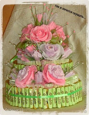 Это мой первый торт и первые розы. Вид спереди. фото 1