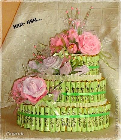 Это мой первый торт и первые розы. Вид спереди. фото 3