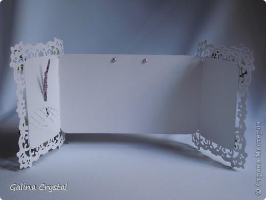 """Как и обещала продолжение следует... Поздравительная открытка-рамка """"Сиреневый букет"""",  Дизайнерская бумага, вырубка, тиснение, цветы. Внутри кармашек для денег. Размеры: в сложенном виде 20,5х14см, в развернутом 34х14см. фото 5"""
