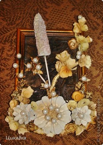 а это уменьшенный вариант картины с кукурузной кочерыжкой. неожиданно пригласили на день рождения к малознакомой женщине. пришлось за час соображать презентик) фото 1