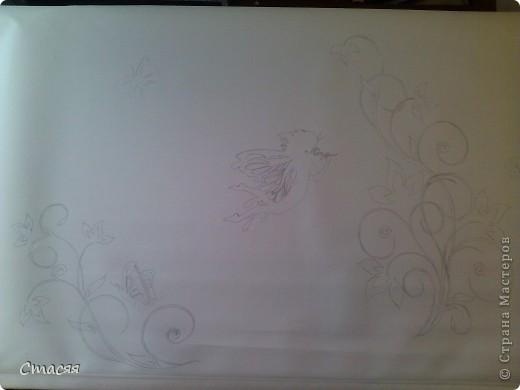 Простая рулонная штора, краски и контур для тканей.  фото 2