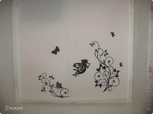 Простая рулонная штора, краски и контур для тканей.  фото 1