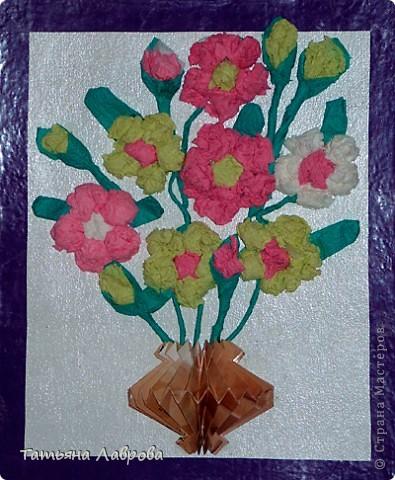 Букет из салфеточных цветов фото 1