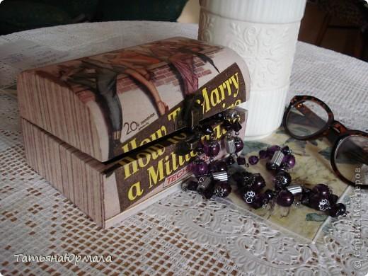 Деревянная шкатулка, салфетки 2 видов, внутри бархат фото 1
