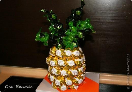 """Мой первый ананасик. Смотрела множество ананасов у мастериц, но нигде не нравилась """"капуста"""" и я решила сделать ее из конфеток, получилось давольно не плохо. Но таланта фотографа нет совсем, это моя самая худшая съемка работы(((( Пойду учиться на фотографа)))  фото 1"""