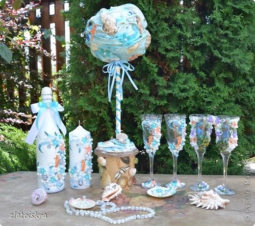 """Добрый день, дорогие жители СМ! Сегодня я к вам с новым свадебным набором """"В синем море, в белой пене..."""" Летом, естественно, очень хочется моря, прохлады и шума волн. Именно морская волна вдохновила меня на создание набора в морском стиле. фото 31"""
