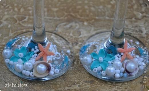"""Добрый день, дорогие жители СМ! Сегодня я к вам с новым свадебным набором """"В синем море, в белой пене..."""" Летом, естественно, очень хочется моря, прохлады и шума волн. Именно морская волна вдохновила меня на создание набора в морском стиле. фото 6"""