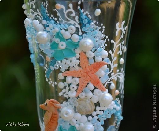 """Добрый день, дорогие жители СМ! Сегодня я к вам с новым свадебным набором """"В синем море, в белой пене..."""" Летом, естественно, очень хочется моря, прохлады и шума волн. Именно морская волна вдохновила меня на создание набора в морском стиле. фото 4"""