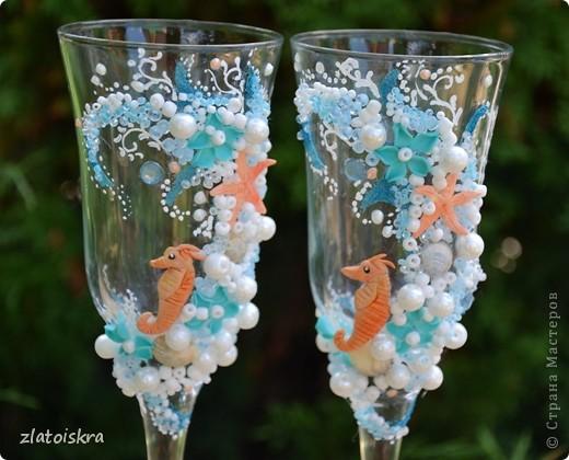 """Добрый день, дорогие жители СМ! Сегодня я к вам с новым свадебным набором """"В синем море, в белой пене..."""" Летом, естественно, очень хочется моря, прохлады и шума волн. Именно морская волна вдохновила меня на создание набора в морском стиле. фото 5"""
