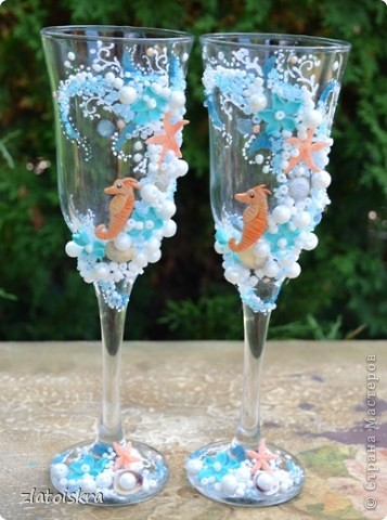 """Добрый день, дорогие жители СМ! Сегодня я к вам с новым свадебным набором """"В синем море, в белой пене..."""" Летом, естественно, очень хочется моря, прохлады и шума волн. Именно морская волна вдохновила меня на создание набора в морском стиле. фото 2"""