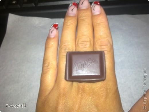Колечко в виде кусочка шоколадки Milka фото 3