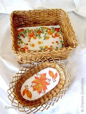 Здравствуйте, дорогие мои жители Страны! Вот сплелась коробочка-корзиночка для вязальных моих запасов и вазочка для печенья и сухариков... фото 1