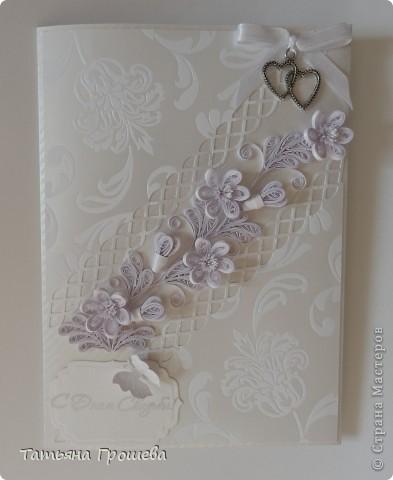 Получила заказ на две свадебные открытки-конверты. Одна открытка от бабушки невесты, она у меня получилась вот такая. фото 3