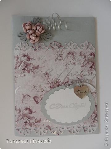 Получила заказ на две свадебные открытки-конверты. Одна открытка от бабушки невесты, она у меня получилась вот такая. фото 1