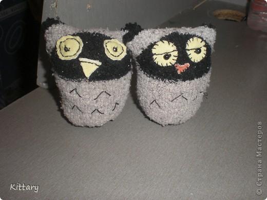 Вот такие совушки из носочков детских, увидела изначально где-то на просторах интернета, исходный источник не найду, на авторство не претендую) фото 1