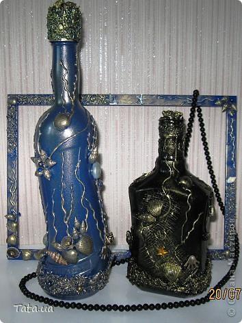 Доброго времени суток, дорогая Страна!!! Сегодня я к Вам с подарком для подруги- синяя морская бутылочка и фоторамочка, и для мамы- черная бутылочка. Снова воспользовалась идеей Оли  http://stranamasterov.ru/node/339980?c=favorite, а также Елены http://stranamasterov.ru/node/368042?c=favorite. Поводом послужило предстоящий день рождение подруги, и мое желание удивить маму. фото 16