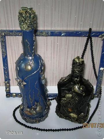 Доброго времени суток, дорогая Страна!!! Сегодня я к Вам с подарком для подруги- синяя морская бутылочка и фоторамочка, и для мамы- черная бутылочка. Снова воспользовалась идеей Оли  http://stranamasterov.ru/node/339980?c=favorite, а также Елены http://stranamasterov.ru/node/368042?c=favorite. Поводом послужило предстоящий день рождение подруги, и мое желание удивить маму. фото 2