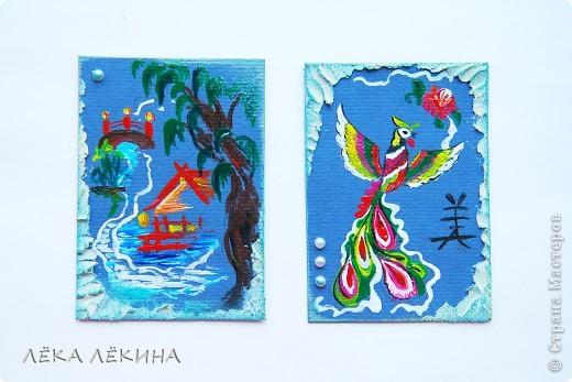 В продолжение темы восточных мотивов, нарисовалась вот такая мини-серия на тему Китая...Надеюсь не удалосьпередать атмосферу Поднебесной:) все как обычно - основа бумага для пастели, рисунок акрилом, полубусинки, текстурная паста, дистрессы. Добавила немного карточек, поэтому есть выбор фото 5