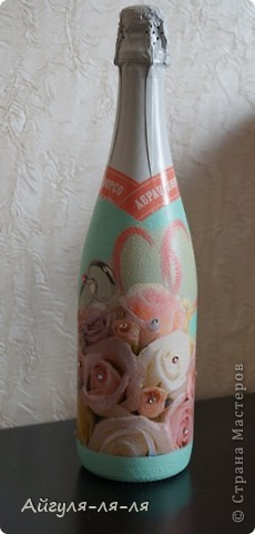 Как приятно собираться на свадьбу и готовить необычные сюрпризы для молодоженов! Решила им подарить бокалы и шампанское, в такой нежной теме мишки тедди! фото 7