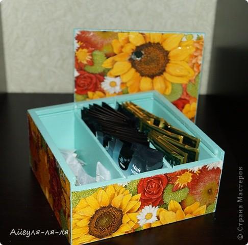 Здравствуйте, талантливые мастерицы! Осуществила свою маленькую мечту,теперь мой чай хранится в такой яркой коробки!!! фото 6