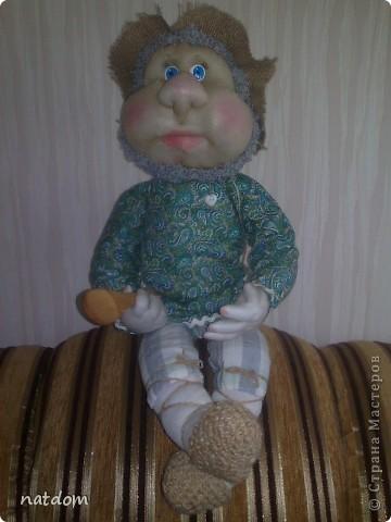 Доброго времени суток дорогие мастерицы! Представляю Вашему вниманию мои первые работы. Благодаря Елене Лаврентьевой и ее замечательному Мастер класу я начала шить кукол. Рост у этого Домовенка 55 см, внутри проволочный каркас. фото 4