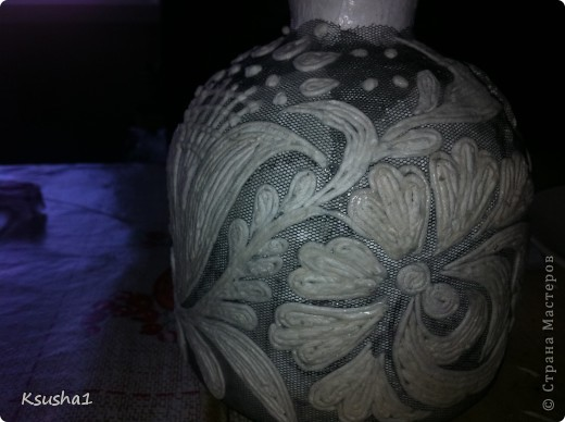 Декор предметов Бумагопластика Кружева в пейп-арте Мини-МК Бутылки стеклянные Клей Салфетки фото 2