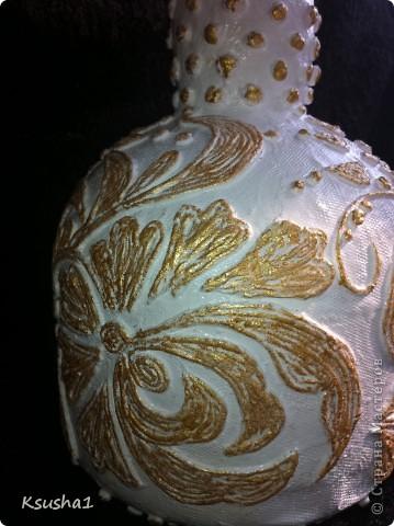 Декор предметов Бумагопластика Кружева в пейп-арте Мини-МК Бутылки стеклянные Клей Салфетки фото 6