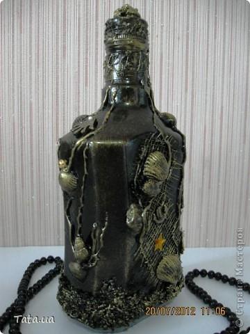 Доброго времени суток, дорогая Страна!!! Сегодня я к Вам с подарком для подруги- синяя морская бутылочка и фоторамочка, и для мамы- черная бутылочка. Снова воспользовалась идеей Оли  http://stranamasterov.ru/node/339980?c=favorite, а также Елены http://stranamasterov.ru/node/368042?c=favorite. Поводом послужило предстоящий день рождение подруги, и мое желание удивить маму. фото 12