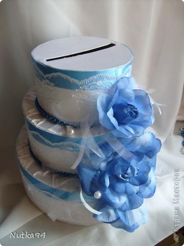 Заказали сделать БОЛЬШОЙ свадебный набор, свадьба будет в синих тонах, честно синий мне сначало показался не очень привлекательным цветом, но когда начала создавать работы просто влюбилась в этот цвет, он такой нежный , воздушный, небесный))))  Вот такая казна для денег получилась)) фото 3