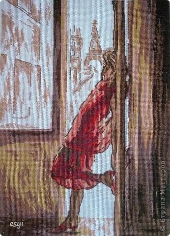 Всем доброго времени суток!  Мои новые вышивки , еще не оформленные (вдохновение пропало). Вот такая девушка на балконе. Цвет ниток подбирала по схеме , с оригиналом несколько  не совпадает. фото 1