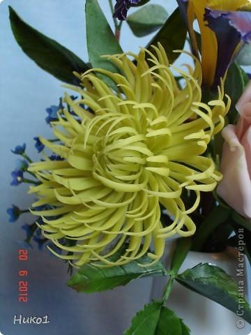 Хочу показать еще один букетик из ленточной хризантемы, ириса, анемона, розы и незабудок.  фото 3