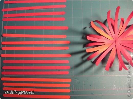 """Продолжение мини-серии красных цветов, вот <a target=""""_blank"""" href=""""/node/384093"""">здесь были маргаритки</a>. Сегодня - хризантема. Делать несложно и интересно собирать цветок. Чем больше схожих оттенков полос для цветка взять - тем интереснее эффект. На внутреннюю часть лучше взять взять оттенки посветлее, чтобы получить эффект подсветки изнутри. Вот и все хитрости. Остальные мелочи - по ходу фотографий. фото 2"""