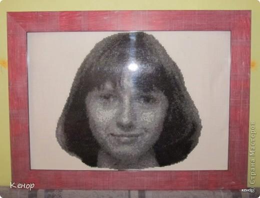 Вот такой портрет получился в подарок сестре моего мужа. Это мой первый опыт в вышивании крестиком. фото 3