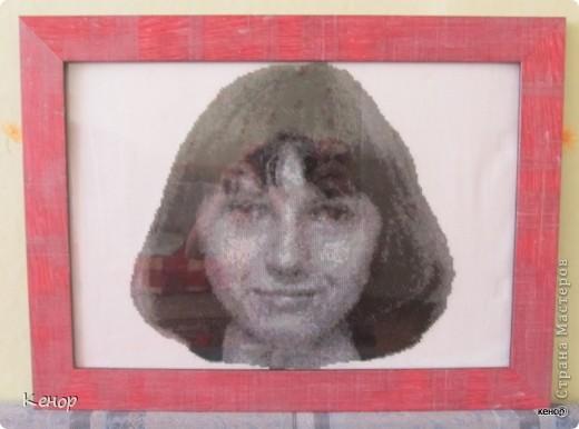 Вот такой портрет получился в подарок сестре моего мужа. Это мой первый опыт в вышивании крестиком. фото 4