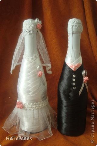 Моя вторая попытка украшения к свадьбе. В этот раз решилась еще и на бокальчики. Вот выставляю на ваш суд! фото 2