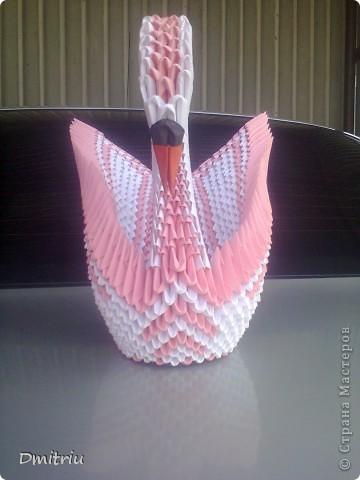 Лебедь Оригами модульное с крыльями фото 2