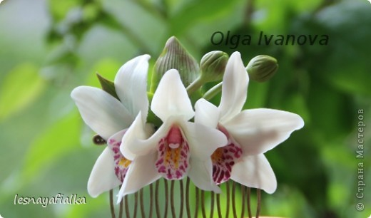 Комплект заколок с орхидеей цимбидиум. фото 2