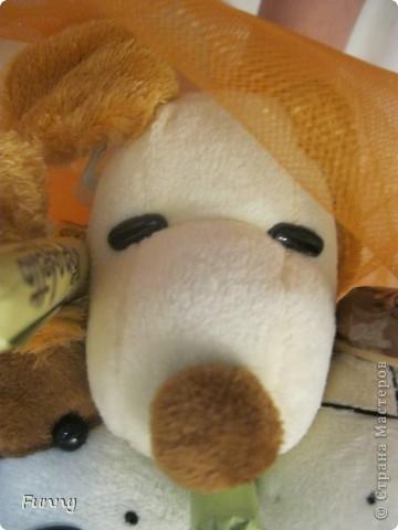 Вот такой букетик из игрушек и конфет я подарила подруге, по моему вышло очень мило) Букет получился большим и немного тяжелым, но это по моему его ничуть не портит. Такой букет мне кажется понравиться детям (кстати мой букет почему то очень пах сахарной пудрой))))))))))))))) фото 6