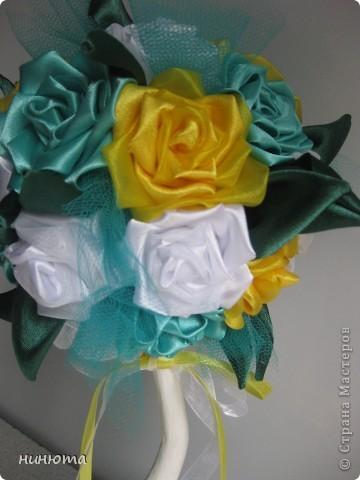 Здравствуйте! Это мой любимый топиарчик с розами цумами канзаши.  фото 2