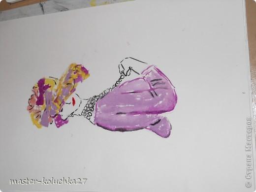 сначала был искиз.картинку я взяла в интернете .для этой дамы понадобятся нежные пастельные тона. я взяла фиалетовый,сиреневый,жёлтый и телесный цвет.закрашиваем этими цветами нижнию часть шляпки. фото 6