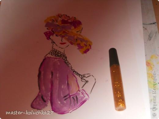 сначала был искиз.картинку я взяла в интернете .для этой дамы понадобятся нежные пастельные тона. я взяла фиалетовый,сиреневый,жёлтый и телесный цвет.закрашиваем этими цветами нижнию часть шляпки. фото 8