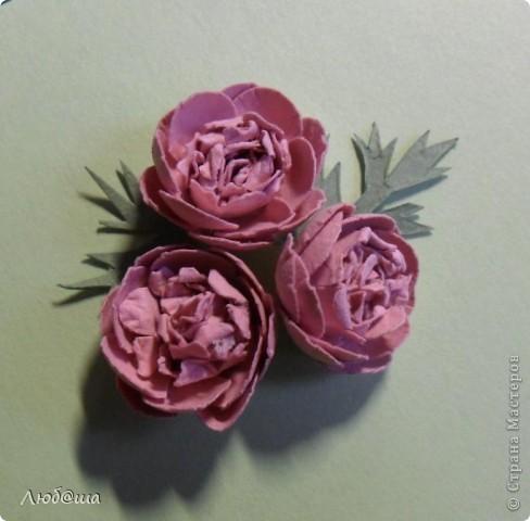 Хочу показать вам как в своей открытке делала пионы: http://stranamasterov.ru/node/389032 . Розы делала по такой же методике. Похоже получилось или нет - судить вам. фото 16