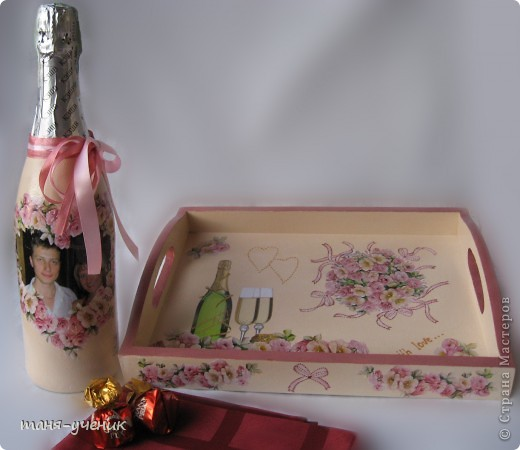 вот такой подарочный комплект делала брату на розовую (10 лет) свадьбу, эти розы будут стоять долго :) фото 1