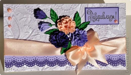 Ещё одна открытка с цветами ручной работы по МК Астории http://astoriaflowers.blogspot.com/2012/01/3.html#more. Очень увлекательное дело, когда время свободное некуда деть)))  фото 1