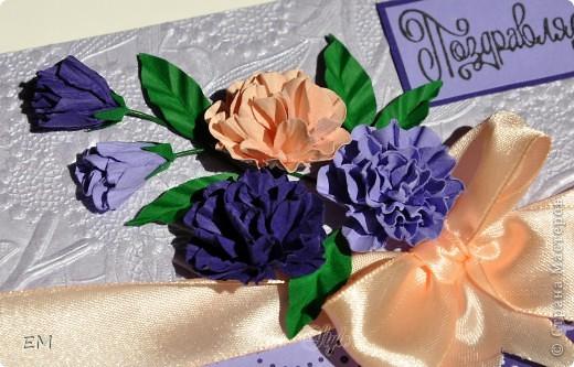 Ещё одна открытка с цветами ручной работы по МК Астории http://astoriaflowers.blogspot.com/2012/01/3.html#more. Очень увлекательное дело, когда время свободное некуда деть)))  фото 2