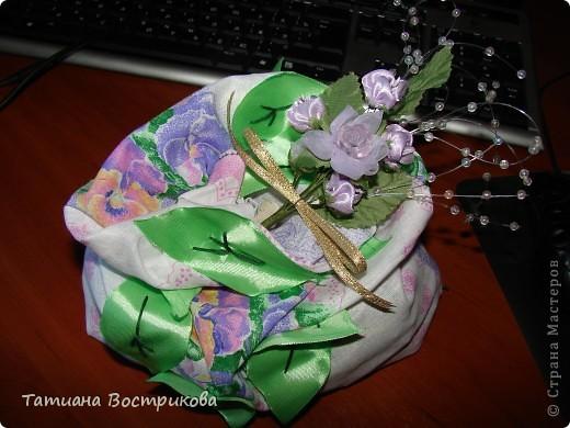 Мешочек для сухих ароматных трав ткань, ленты, цветы. фото 1