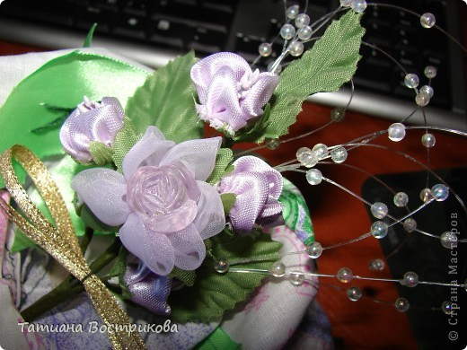 Мешочек для сухих ароматных трав ткань, ленты, цветы. фото 2