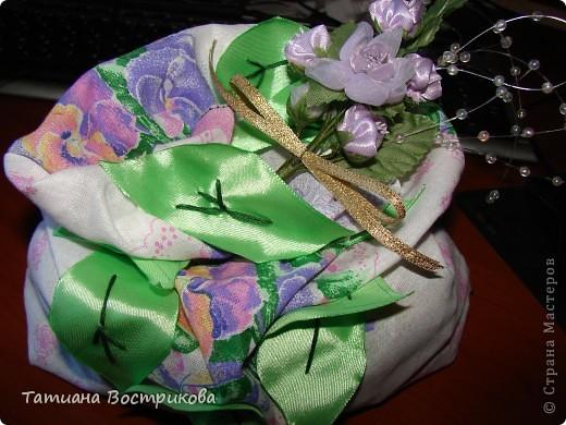 Мешочек для сухих ароматных трав ткань, ленты, цветы. фото 3